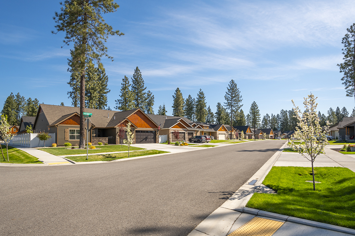 A neighborhood of new homes in a suburban community in the rural
